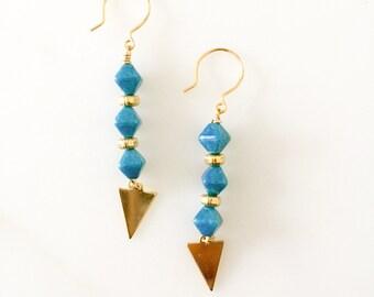Turquoise beads x Triangle drop earrings