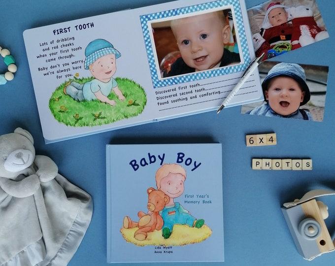 Baby Boy First Year's Memory Book - Light  Hair/Light Skin
