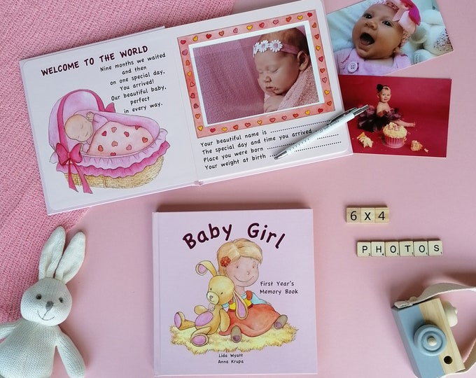 Baby Girl  First Year's Memory Book - light hair & light skin