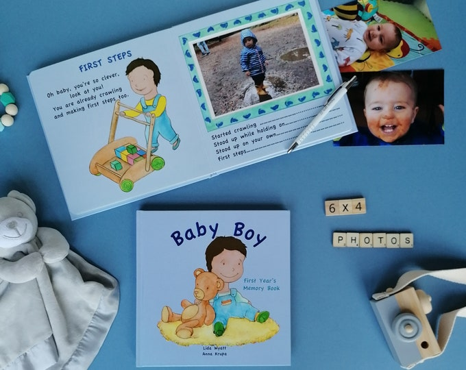 Baby Boy First Year's Memory Book - Dark Hair/Light Skin