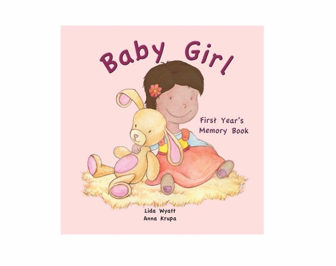 Baby Girl  First Year's Memory Book - Dark Hair/Light Skin