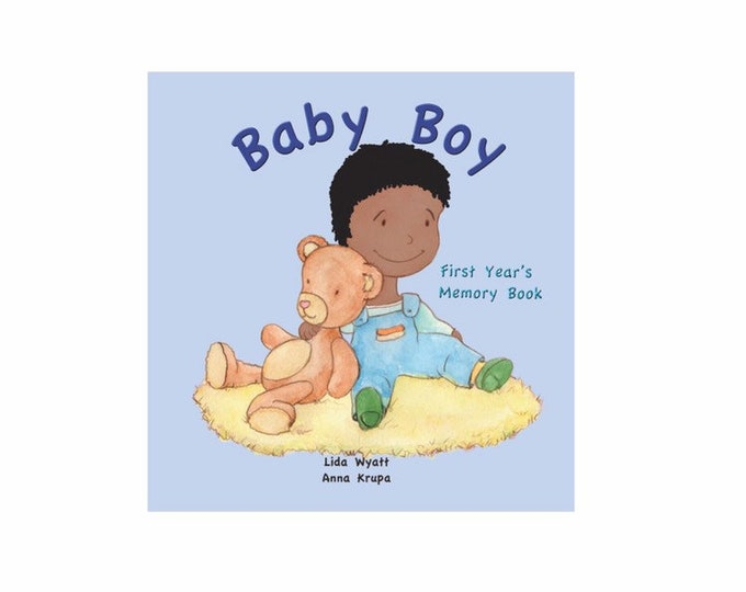Baby Boy First Year's Memory Book - Black Hair/Dark Skin
