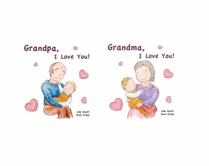 Grandparents Bundle Deal - Grandma, I Love You! Grandpa, I Love You! - Choose from 2 hair colour options & grandparents books combination