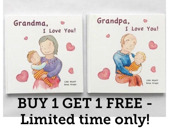 Grandparents Bundle Deal - Grandma, I Love You! Grandpa, I Love You! - Choose from 2 hair colour options & grandparents books combination