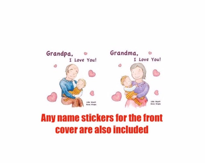 Set of 2 Grandparents' books - Choose from 2 hair colour options &  books combination: 2 Grandma, 2 Grandpa, 1 of each