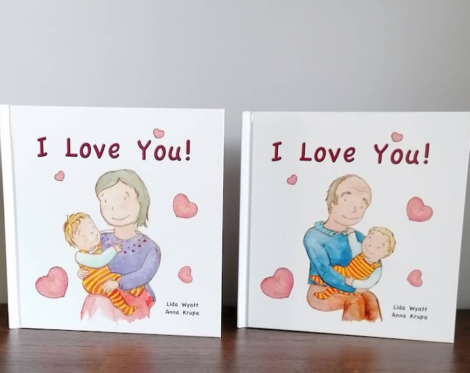Set of 2 Grandparents' books - 2 I Love You! books, Choose from 2 hair colour options &  books combination