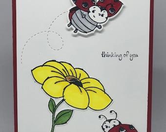 Ladybug Card Thinking of You Card Bugs /& Kisses Card