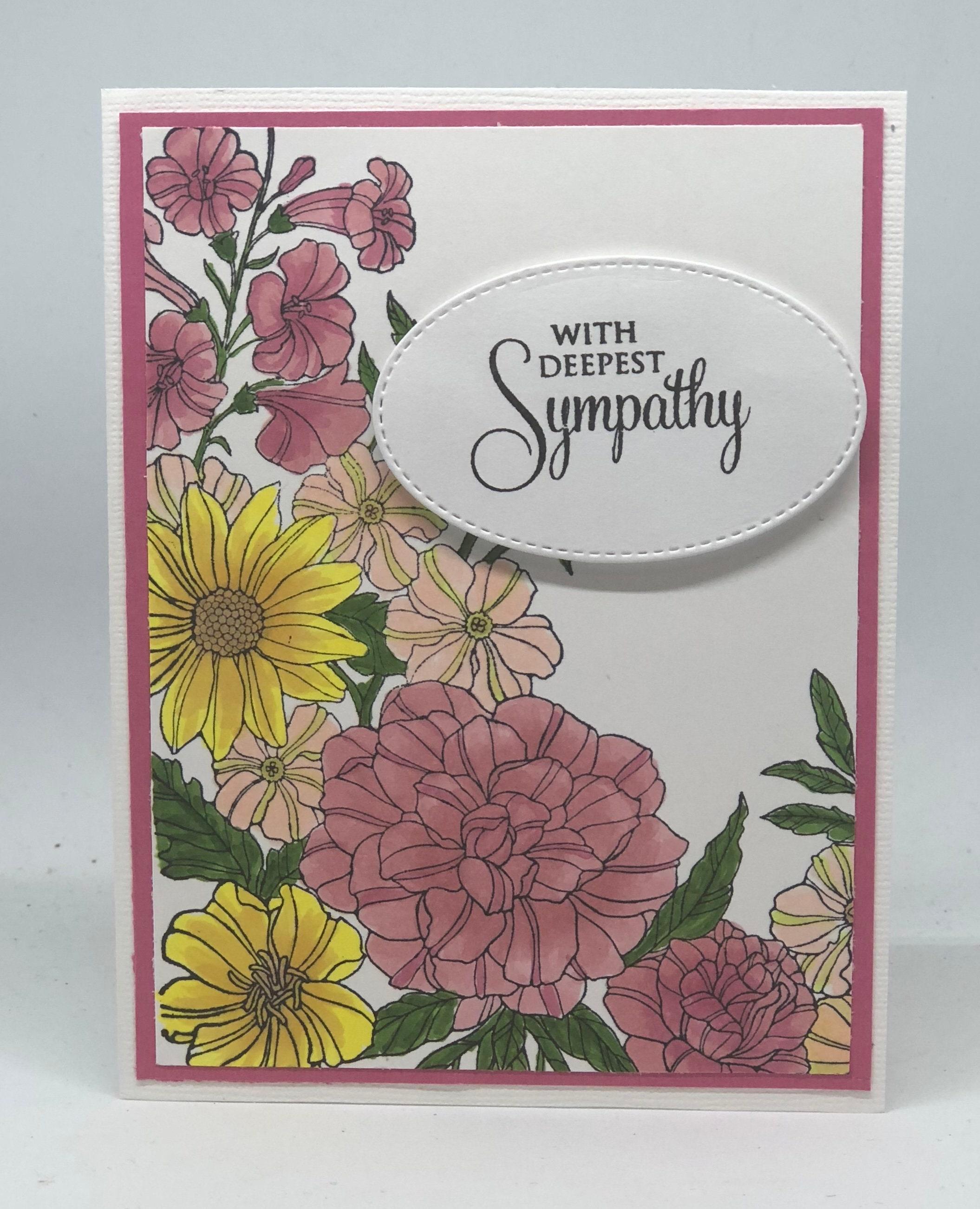 Sorry Card With Sympathy Grief Sympathy Card Flowers Etsy