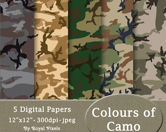 2084cd61b5 5 Digital Paper Backgrounds - Colours of Camo - Camouflage - Printable or  Digital Scrapbook Paper  68