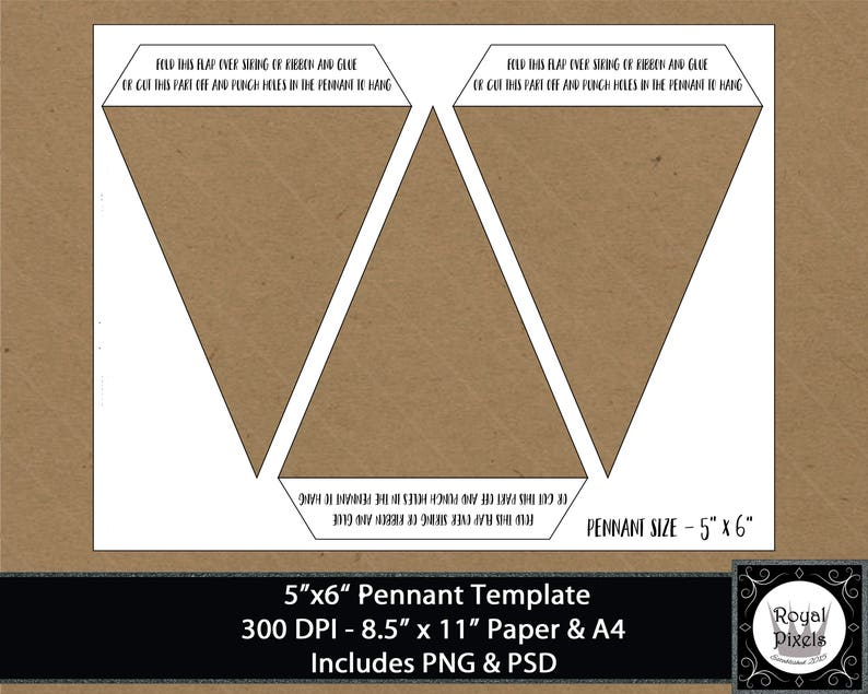 5x6 Pennant Template Banner Template Bunting Etsy