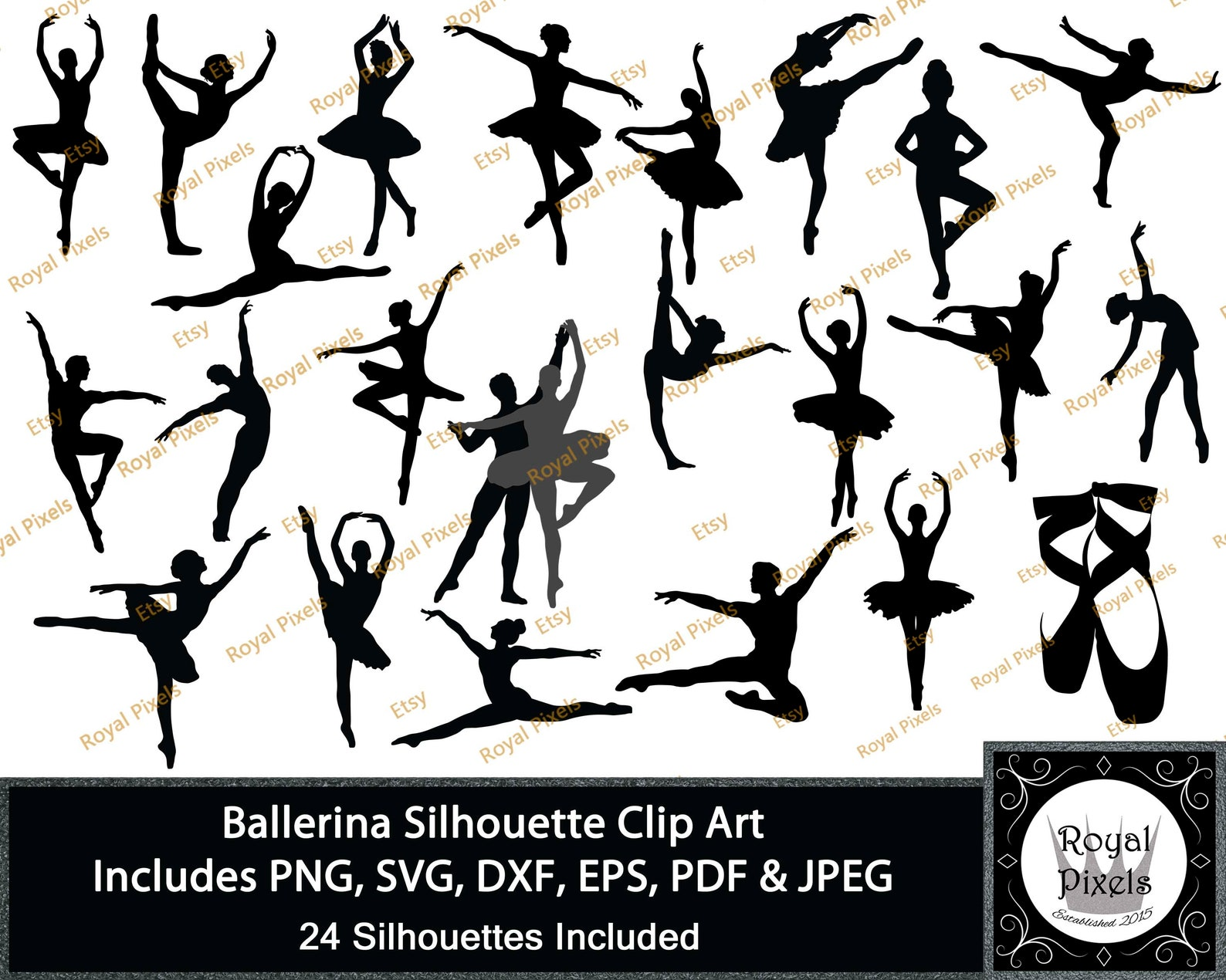 ballerina silhouette clip art 24 piece, dancing silhouettes, ballet clip art, male ballerina, 7 inches, instant download, png sv