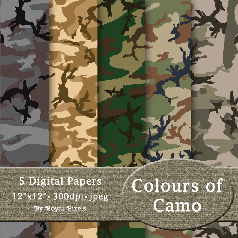 photograph relating to Camo Printable Paper known as 5 Electronic Paper Backgrounds - Colors of Camo - Camouflage - Printable or Electronic Sbook Paper #68