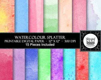15 Digital Paper Backgrounds - Water Colour - Printable or Digital Paper #114