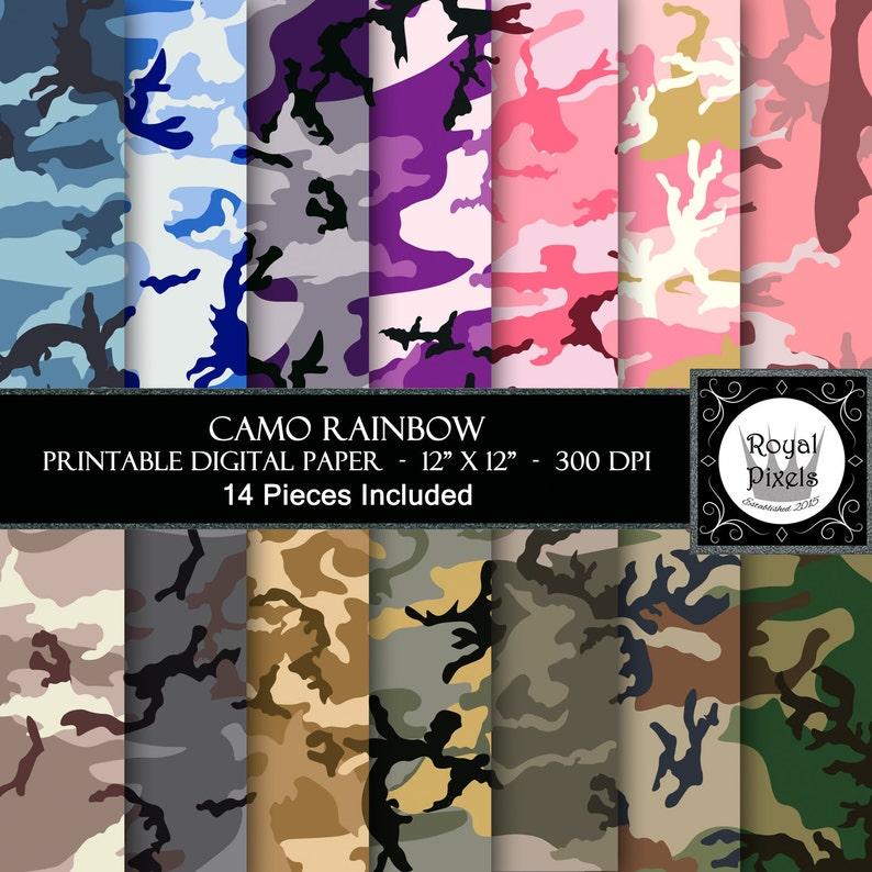 picture about Camo Printable Paper called 14 Electronic Paper Backgrounds - Camo Rainbow - Camouflage - Red, Pink, Blue, Beige, Brown, Environmentally friendly - Printable or Electronic Paper #93