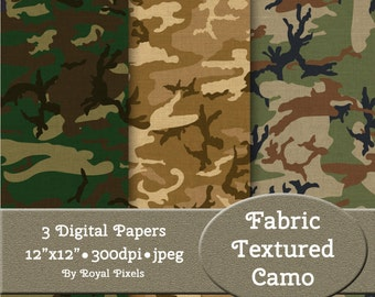 3 Digital Paper Backgrounds - Fabric Textured Camouflage - Printable or Digital Scrapbook Paper #66