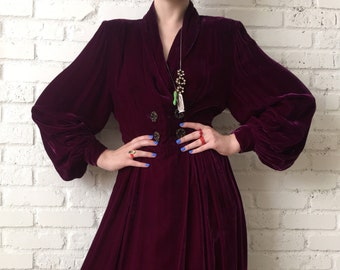 Purple Velvet 1940s Dress