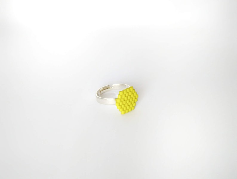 Yellow hexagon Ring of glass beads-READY to DELIVER