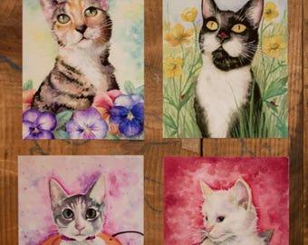 Seasonal Watercolor Cat Prints