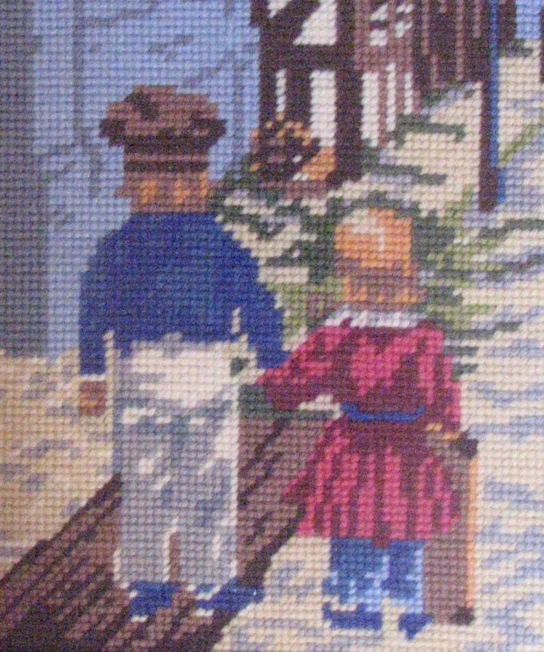 from Denmark Vintage 1940/'s 50/'s Framed Wool Needlepoint Picture of Children