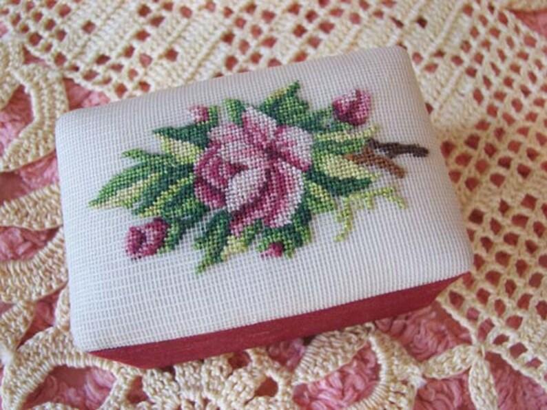 Vintage Teeny Tiny Micro Petit Point Rose Silk Satin Box