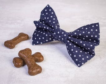 Navy dog bow - Dog bow tie - Girl dog bow - Boy dog bow - Puppy bow - Collar bow - Blue collar bow - Dog collar bow - Bow tie for dogs