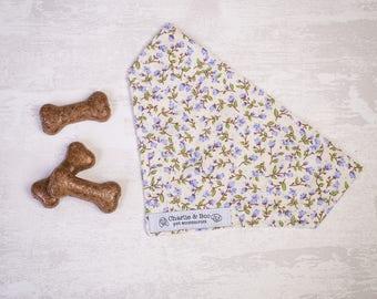 Purple dog bandana - Dog bandana - Dog scarf - Dog necktie - Girl dog bandana - Boy dog bandana - Puppy bandana - Floral dog scarf