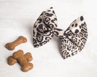 Leopard print dog bow - Dog bow - Dog bow tie - Slide on collar bow - Girl dog bow - Boy dog bow - Puppy bow tie - Puppy gift