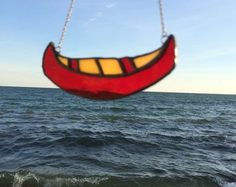 Stained Glass Canoe Ornament