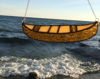Stained Glass Canoe Ornament, canoe home decor,