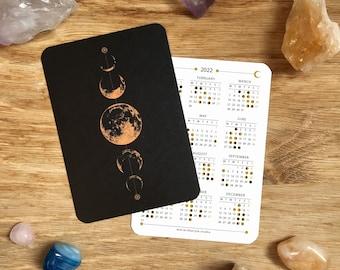 2022 Moon Lunar Calendar // Moon Phases // Mini Calendar // Pocket Calendar // Wallet Insert Calendar // Moon Art