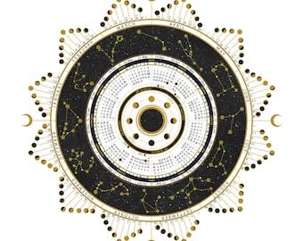 2022 Lunar Moon Phase Calendar // Wall Calendar // Astrology Calendar // Circular Calendar
