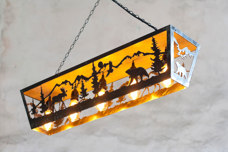 Rustic five lights fixture. Moose and Bear pendant light. Five lights fixture. Cabin lights