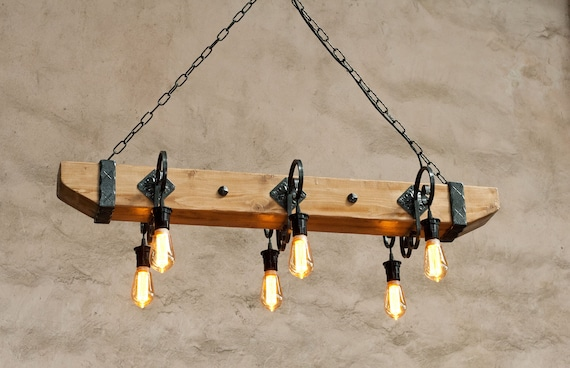 Rustic Ceiling Lights Wood Beam Light Fixture Wrought Iron Etsy