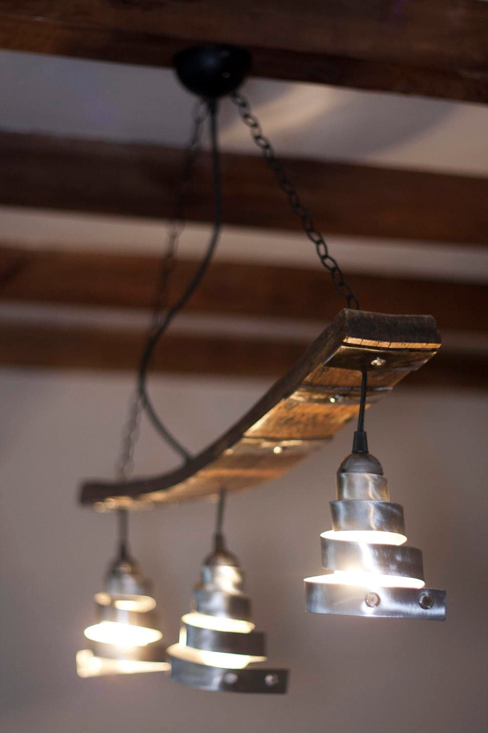 Rustic Ceiling Light. Hanging On Chain 3 Lights. Vintage