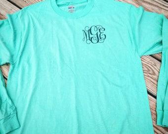 Monogram Tee, Monograms,  Long Sleeve tee, SALE, Long Sleeve Monogrammed shirt, Monogrammed Shirt,  Monogrammed Tee, plus size clothing