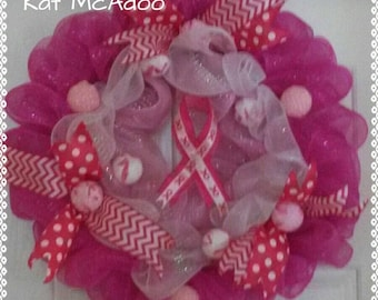 Breast Cancer Awareness Mesh Wreath