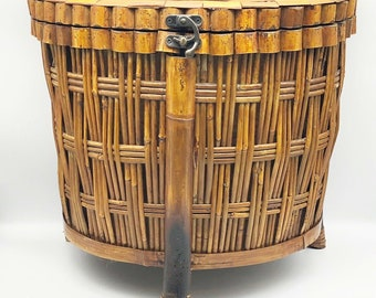 Handmade Rattan Planter Basket Large Footed Floor Basket with Handles Vintage Bamboo Wicker Planter Earthy Natural Neutral Decor