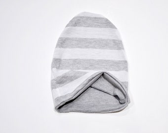 10c31966bf0 Reversible Slouchy Beanie Heather Gray and White 1