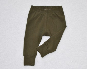 Solid Dark Olive Green Baby Leggings, Baby Pants, Cotton Knit, Boy/Girl Leggings, Baby Gift