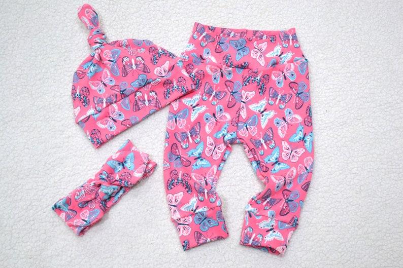 Newborn Baby Girl Clothes Baby Gift Butterfly LeggingsHatHeadband Baby Shower Gift Butterfly Leggings