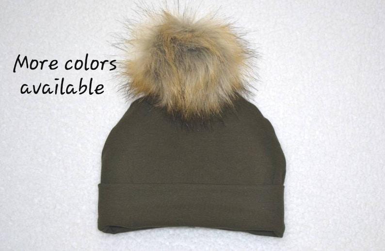 6892dafb2fe Baby Boy Girl Faux Fur Pom Pom Beanie Dark Olive Green