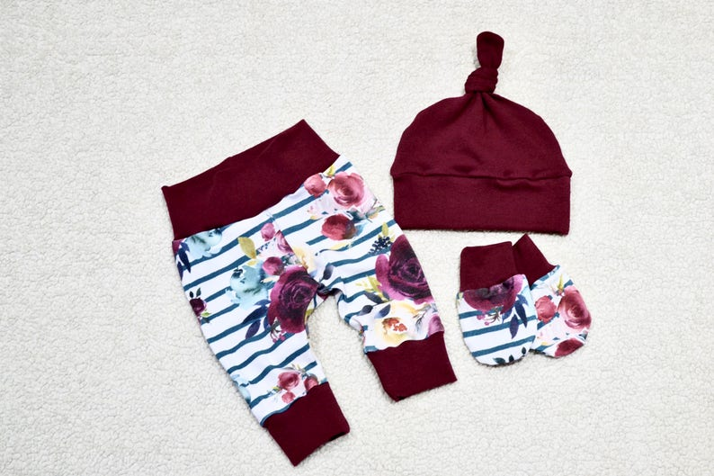 Baby Gift Baby Outfit Baby Girl Outfit Baby Set Take Home Outfit Floral Outfit Burgundy Red Baby Girl Set