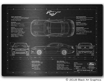 Ford Mustang Gt S Personalised Blueprint Plaque Laser Engraved Aluminium Sign Perfect Gift Idea For Men