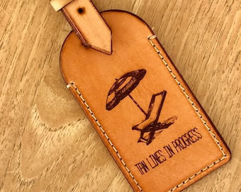 Australian Leather luggage Tag - Tan Lines
