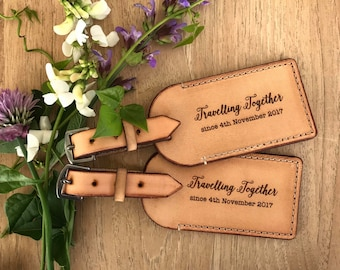Australian Leather luggage Tag Pair - Travelling Together