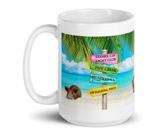 Exuma Cays Swimming Pigs Souvenier Coffee Mug, Staniel Cay Gift, Unique Bahamas Mug, Stocking Stuffer