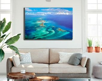 Island Aerial Metal Print, Exuma Cays Bahamas Metal Print, Seascape Aerial Photograph
