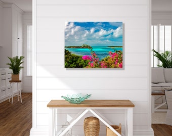 Tropical Island Metal Print, Bahamas Beach Wall Art, Coastal Metal Print
