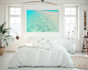 Large Metal  Beach Print, Metal Ocean Water Print, Coastal Decor, Beach House Decor, Aqua Teal Water Print
