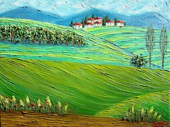 Tuscany Painting Cypress Fields Italian Oil Landscape Impasto Small Artwork by IIArtStudio 8x12 in.